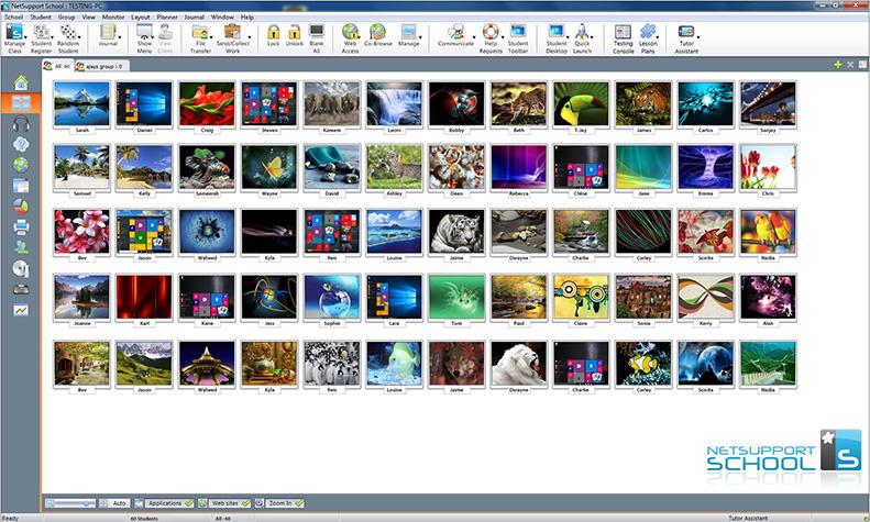 複数生徒端末のデスクトップ画面一覧