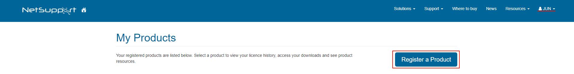 4.ご購入製品の登録 「Register」をクリックし、ページ内の各項目を入力して登録(Submit)します。