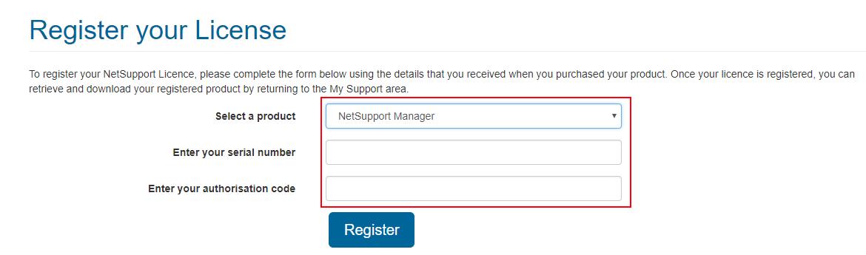4.ご購入製品の登録 製品名・ライセンス証書に記載のシリアルNoと承認コードを入力し、「Register」をクリックします。