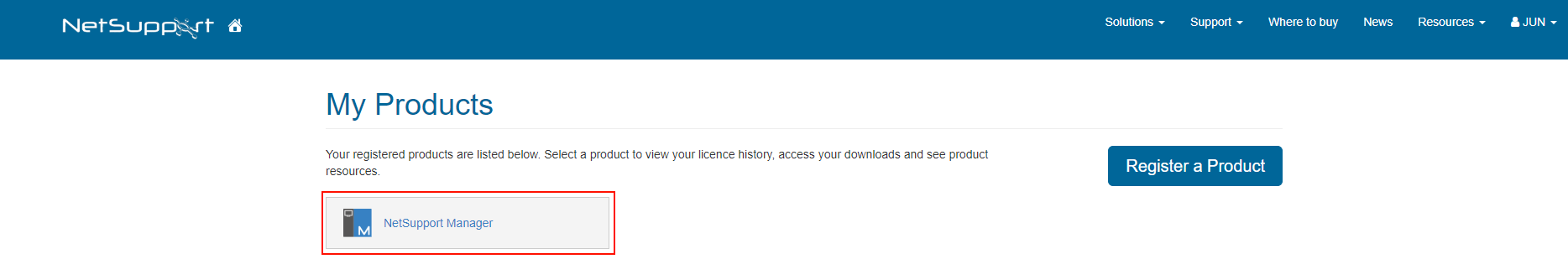 4.ご購入製品の登録 登録が完了しますと、以下のようにご購入の製品アイコンが登録されます。